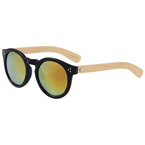 bambú Madera Protección Hombre de Color Silver de Water Mujer Redondo Gafas Lens UV Gafas Madera Vintage Water Red Gafas Silver Marco sol bambú Green Lens Clásico vnanq7Ix