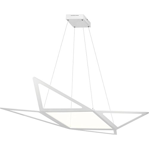 Pendants 1 Light With Matt White Finish Steel Material Intergrated Bulb 24 inch (Starship Pendant)