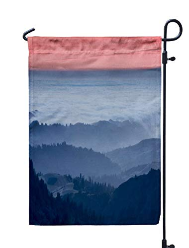 Shorping Welcome Garden Flag, 12x18Inch Clouds Above The Pacific Ocean Santa Mountains Silhouette Views from Russian Ridge Open Space San for Holiday and Seasonal Double-Sided Printing Yards Flags]()