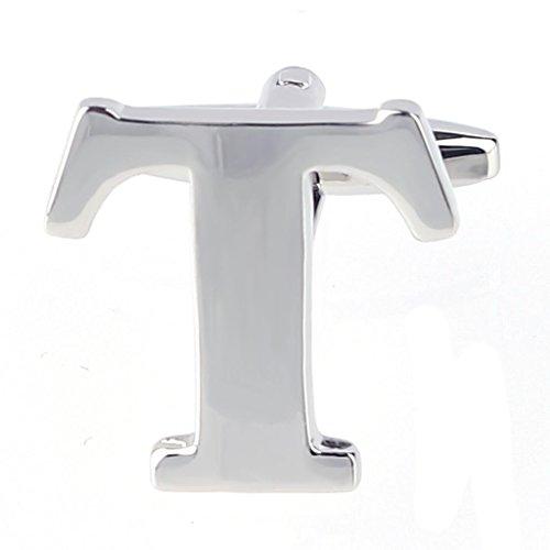 MoAndy Men's Shirts Cufflinks Alphabet Letter T ,Color Silver