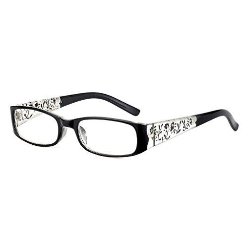 Lergo Elegant Women Reading Glasses Presbyopia Eyeglasses 1.0 1.5 2.0 2.5 3.0 3.5, With Wide Leg Flowers Ornament For Ladies (Flower Glass Ornament)