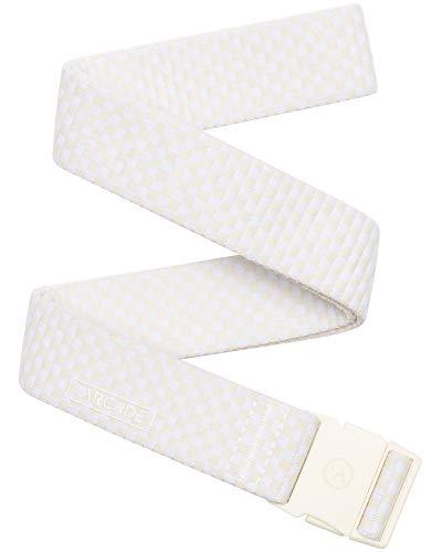(Arcade Belt Mens Adventure Slim Belts: Narrow Width Elastic Stretch Webbing, Micro Adjust Buckle, Pronto Cream/White )