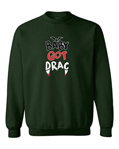 Tcombo Baby Got Drac - Vampire Fangs Bat Toddler Fleece Crewneck Sweater (Forest Green, 2T) ()