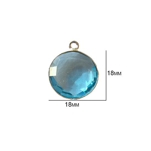 (2 Pcs Blue Topaz Coin Beads 18mm silver by BESTINBEADS, Blue Topaz Hydro Quartz Coin Pendant Bezel Gemstone Connectors over 925 sterling silver bezel jewelry making)