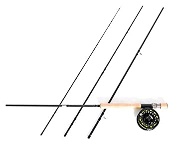 Stradalli Fly Fishing Rod Combo 3K Carbon, 8Wt 9 4pc, Silver Lining Fast Action Fly Rod and Billet Reel Combo