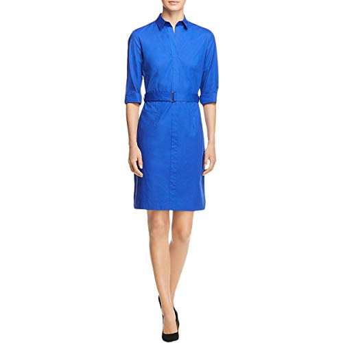 Hugo Boss Womens Dashiri4 Belted Pleated T-Shirt Dress Blue 2
