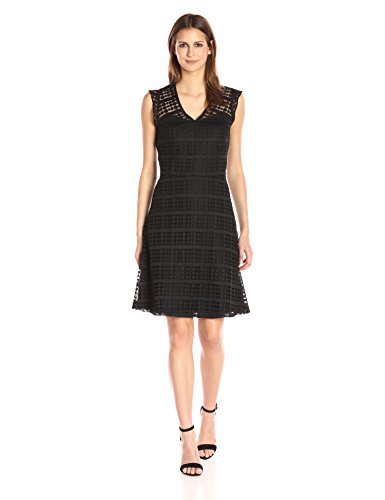 Dress Front Dotted (Nine West Women's Fit and Flare Dotted Lace Dress with Front/Back Yoke, Black, 8)