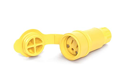 Woodhead 15W47 Watertite Wet Location Locking Blade Connector - Yellow, 2 Pole/3 Wire, NEMA 5-15 Replacement Connector with F2 Cord Grip, Silicone Husk