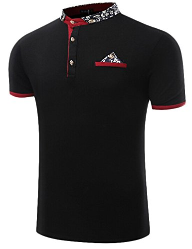 gaga-mens-fashion-polo-short-sleeved-t-shirt-lapel-black-s