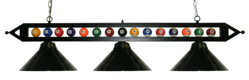 "59"" Black Metal Ball Design Pool Table Light Billiard Lamp Choose Black, Red, Green Metal Shades or White Glass (Black Metal Shades)"