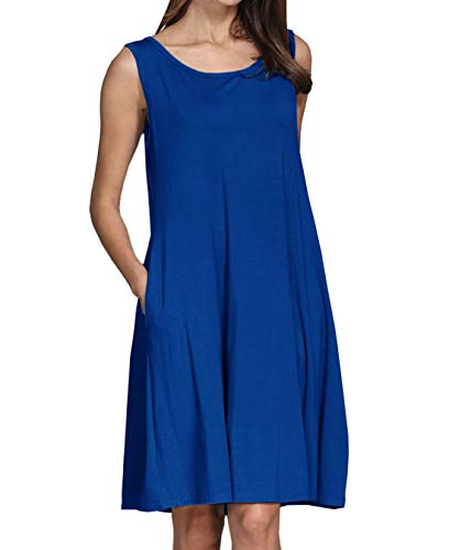lymanchi Women Sleeveless Pockets Swing Simple Loose Casual T-Shirt Dresses Royal Blue XL