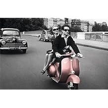 Paris, 1964 Pink Vespa Travel Photo Poster (24 x 36 inches)