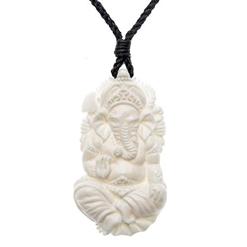 - 81stgeneration Women's Men's Hand Carved Bone Ganesh Hindu God Elephant Amulet Pendant Necklace