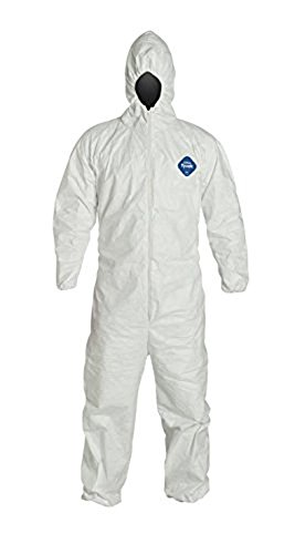White Dupont TY127SWHXL0025VP Coveralls with Hoods Thomas Scientific Serged Seam X-Large Pack of 25
