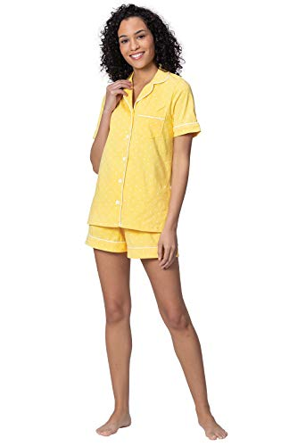 (PajamaGram Womens Pajamas Short Sets - Womens Summer PJs, Yellow, XL, 16)
