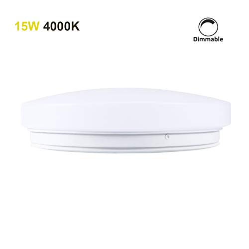 Surface Fixture (13 Inch Dimmable LED Flush Mount Ceiling Light, 15W(100W Equivalent), 4000k Natural White, 1200Lumens, 110V, Surface Mount Ceiling Lights Fixture for Living Room, Bedroom)