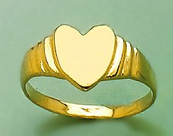 14k Gold Children's Jewelry, Heart Baby Signet Ring With Ridge Sides