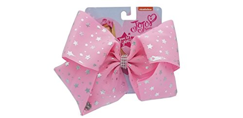 Jojo Siwa Bow Large Signature Collection - Pink Bow w/Silver Stars and Rhinestone Center Ring