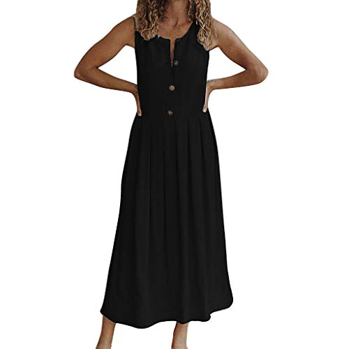 (Women's Dresses Summer Plus Size O-Neck Pure Color Sleeveless Button Down Empire Waist Sandy Beach Easy Maxi Long Dress Black)