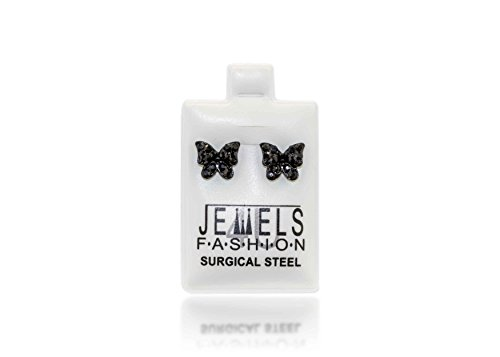 Surgical Stainless Steel Butterfly Studs Earrings Little Girl-Women Cubic Zirconia Hypoallergenic - With Earing Surgical Steel Posts