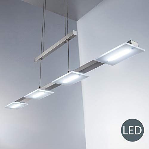 4x4W Lampara colgante metal y plastico LED 230V, regulable en altura, luz blanco calido 3000K, Color niquel mate, IP20
