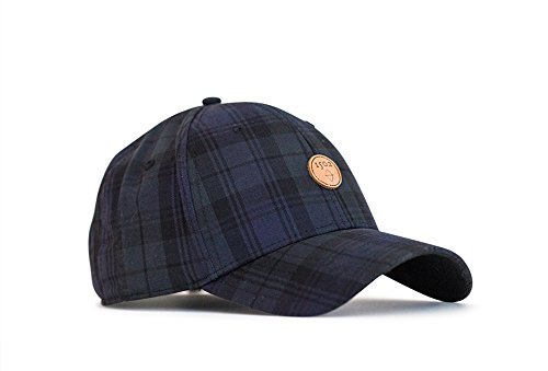 Classic Golf Hat, Black Watch Plaid 1502 Design, Adjustable Hat & Leather ()