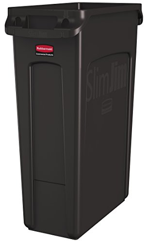 Rubbermaid Commercial Vented Slim Jim Trash Can Waste Receptacle, 23 Gallon, Brown, Plastic, (Space Saving Waste Container)