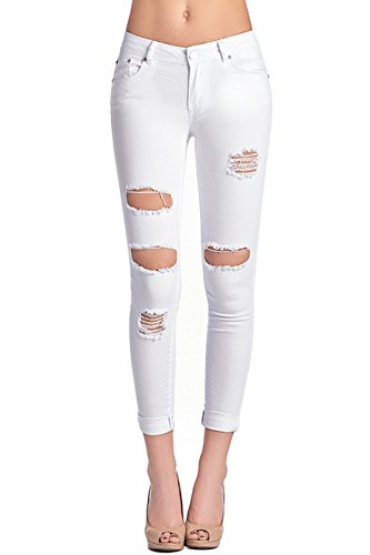 2LUV Women's Stretchy Butt Lift 5 Pocket Ripped Skinny Jeans White (Low Skinny Jeans)
