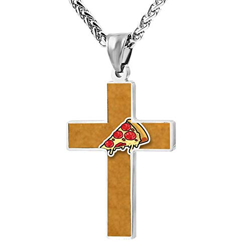 Simple Small Zinc Alloy Religious Cross Necklace for Men Women Print Pizza Cartoon for $<!--$17.98-->