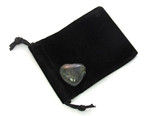 Labradorite Crystal Gemstone (Zentron Crystal Collection: Labradorite 30MM All Natural Polished Pocket Gemstone Crystal Puff Heart and Velvet Pouch)