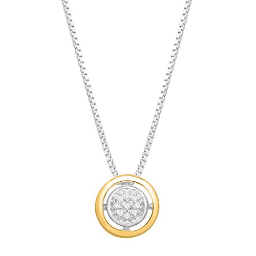 Halo Pendant Necklace with Diamonds in Sterling Silver and 14K Gold
