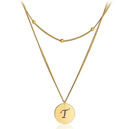 Gold Initial Alphabet Pendant Necklace for Women Long Neckace Y Shape Sterling Silver Coin Pendat