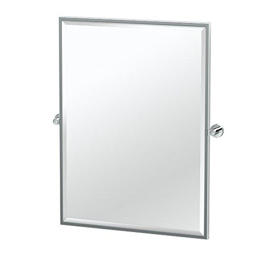 Gatco 4639FS Glam Framed Rectangle Mirror, Chrome, (Framed Pivoting Mirror)
