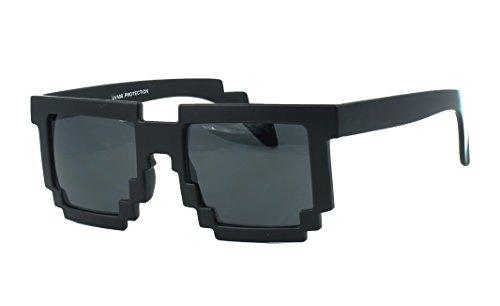 Glass Computer Jupiter - Pixelated 8-bit Clear Lens Computer Nerd Geek Gamer Sunglasses (Matte Black)