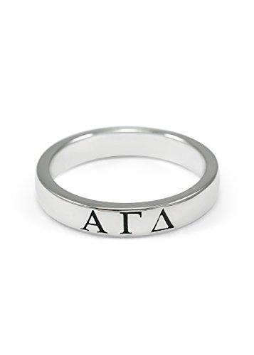 The Collegiate Standard Alpha Gamma Delta Sterling Silver Skinny Band Ring (7.0) ()