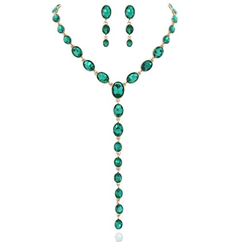 - SP Sophia Collection Y Women's Jewelry Descending Oval Drop Necklace and Earrings Set in Gold Green