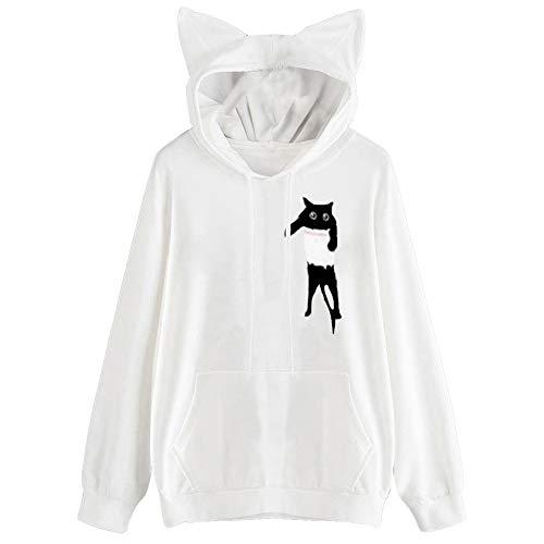Xinantime Women Cute Cat Ear Sweatshirt Shirt Hooded Teen Girl Long Sleeve Blouse Top Long Sleeve Hoodie (Rabbit 3/4 Genuine Coat Fur)