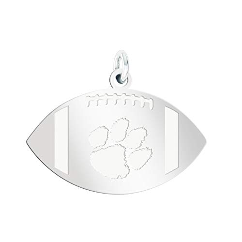College Jewelry Clemson Tigers Charms | Sterling Silver Natural Finish Football Cut Out ()