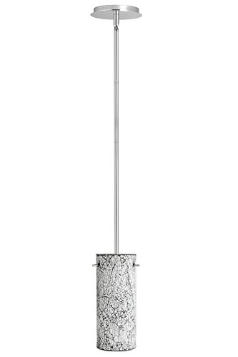 Linea di Liara Nicola Cylindrical One-Light Stem Hung Pendant Lamp, Chrome with Crackled Lustrous Pearl Glass Cylinder LL-P415-LP