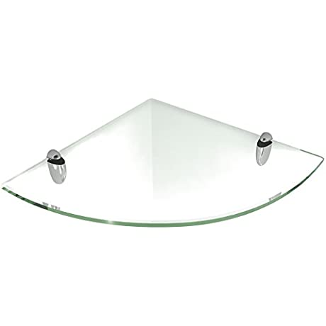 Fab Glass And Mirror Floating Glass Corner Shelf With Chrome Brackets Clear Glass 8 X 8