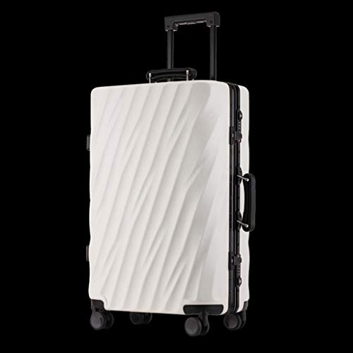 (Huixin Aluminum Frame Suitcase Male Trolley Case Female Ins Tide Korean Version of The Personality Password Box Leather Box Universal Wheel Travel Luggage (Color : White, Size : 29 inche))