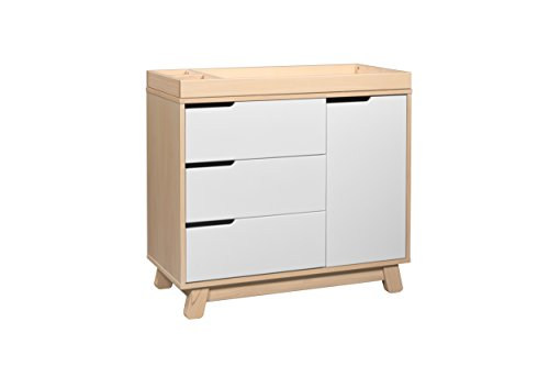 Babyletto Hudson Dress Changer with Removable Tray, Washed Natural White - Da Vinci Solid Pine Dresser