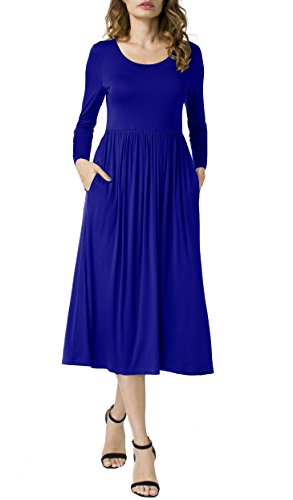 POSESHE Women's Long Sleeve Elastic Waist Pockets Loose Swing Casual Dress Royal Blue L (Womens Dress Royal Blue)