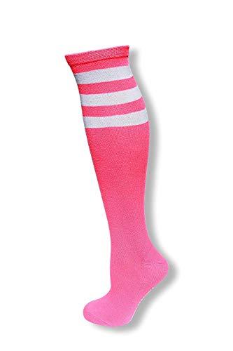 Neon Nation Colored Knee High Tube Socks w/White Stripes (Neon -