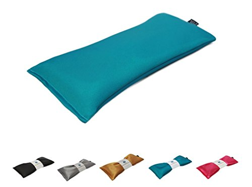 Eye Pillow Vacation Organic Flax Seed Filled, Microwavable Unscented Eye Pillow - Aqua - Ultra Silky - Seed Pouch