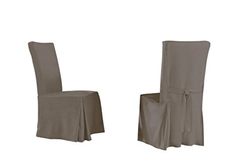 Serta Relaxed Fit Smooth Dining Chair, Long Skirt, Grey, (Pack Of 6)