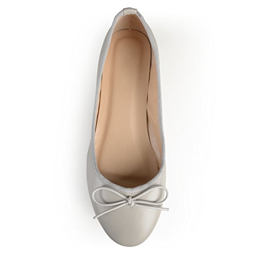 Journee Collection Womens Round Toe Bow Ballet Flats Grey Ui9aB