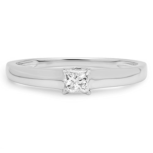 DazzlingRock Collection 14K White Gold Princess Cut Diamond Lucida Solitaire Bridal Engagement Ring