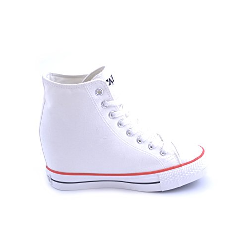 Scarpe sneakers Cafe'Noir da donna in tessuto bianco con rialzo interno di 7cm, punta in gomma bianca, COD. MDG 900
