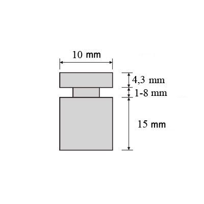 Schilder-Befestigung Mini Halter Schilder Halter V2A Schraubbarer Abstandshalter VA im Set 10 x 15 mm Schraubbar Glashalter